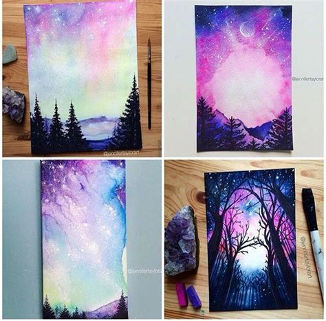 Purple and blue paintings with trees, sky and galaxy