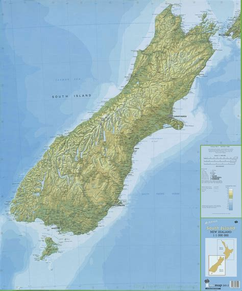 Large detailed South Island New Zealand map