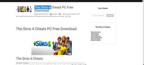 The Sims 4 Cheats PC Free Download • Sims 4 Stuff | Hacks