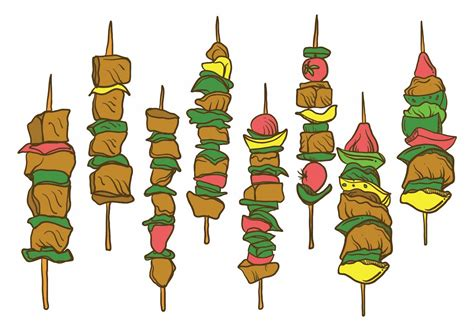 Free Hand Drawn Brochette Illustration Set - Download Free