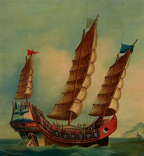 ANTIQUE CHINESE CHINA QING DYNASTY OIL PAINTING JUNK SHIP