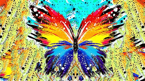 abstract, Paint Splatter, Butterfly Wallpapers HD