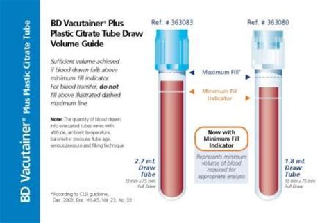 BD Vacutainer® Plus Plastic Citrate Tube Draw Volume Guide