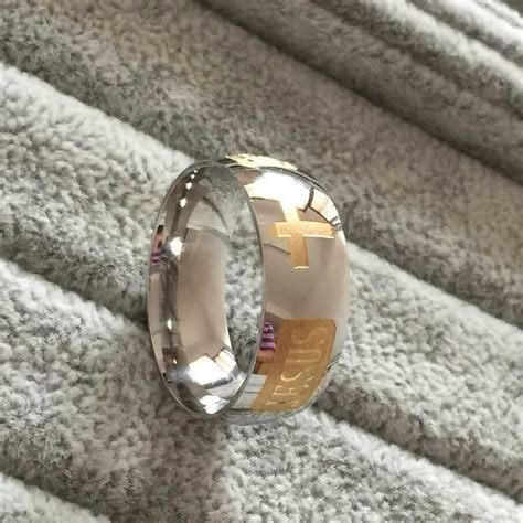 8mm 316 Titanium Steel silver plated christian ring jesus