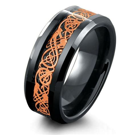 8mm Black Tungsten Carbide Ring Inlaid With Rose Gold