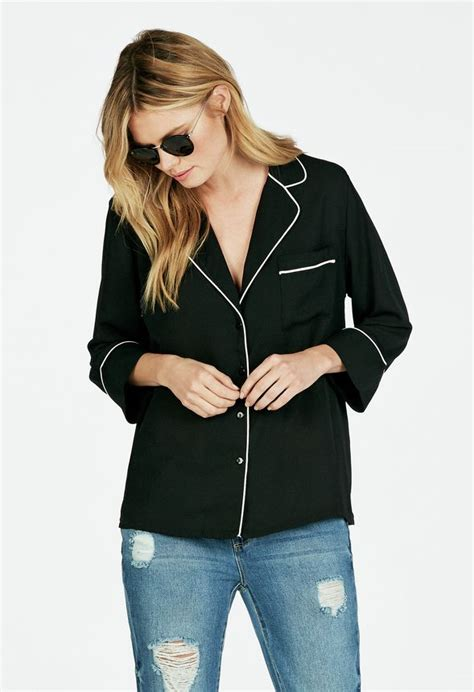 Piped Detail Pajama Style Blouse Clothing in Black - Get