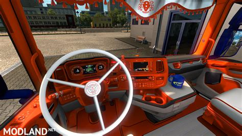 ORANGE AND WHITE SCANIA NEXT GEN S AND R INTERIOR mod for